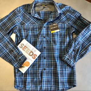 🌟NEW Eddie Bauer Men's Small Free Dry Shirt- blue